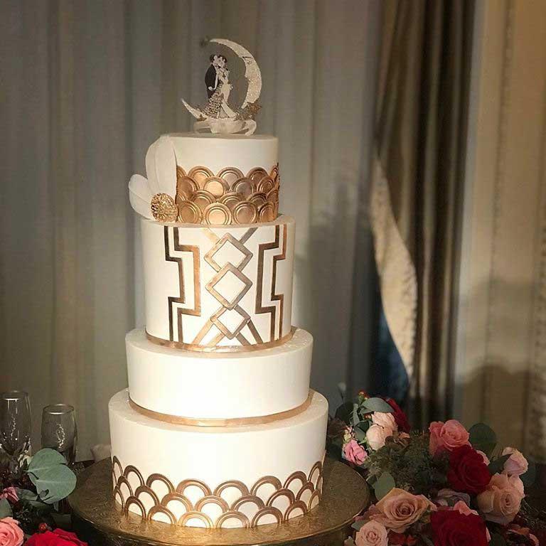 Wedding Cake with Gold Accent - Sugar and Salt Richmond VA