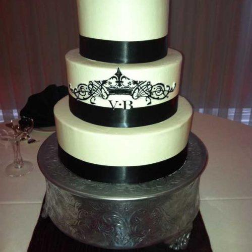 Black Banded Wedding Cake - Sugar and Salt Richmond VA
