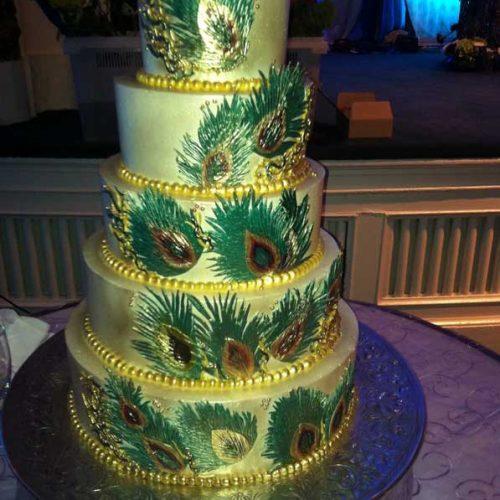 Peacock Feather Wedding Cake - Sugar and Salt Richmond VA