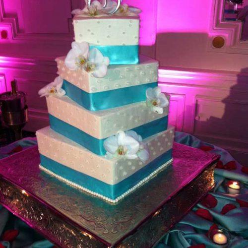 Square Blue Banded Wedding Cake - Sugar and Salt Richmond VA
